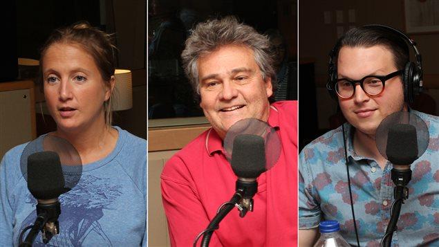Rafaële Germain, auteure et scénariste, Dr Jean-François Chicoine, pédiatre et auteur, et Philippe Couture, critique de théâtre et chef de pupitre à Voir