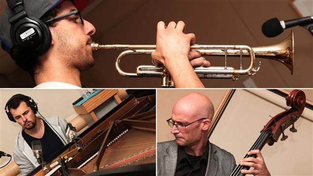 Les musiciens du Hichem Khalfa trio : Hichem Khalfa à la trompette, Jérôme Beaulieu au piano et Alex Bellegarde à la contrebasse.