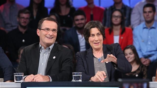 Jean Lapierre et Chantal Hébert à <i>Tout le monde en parle</i> en septembre 2014