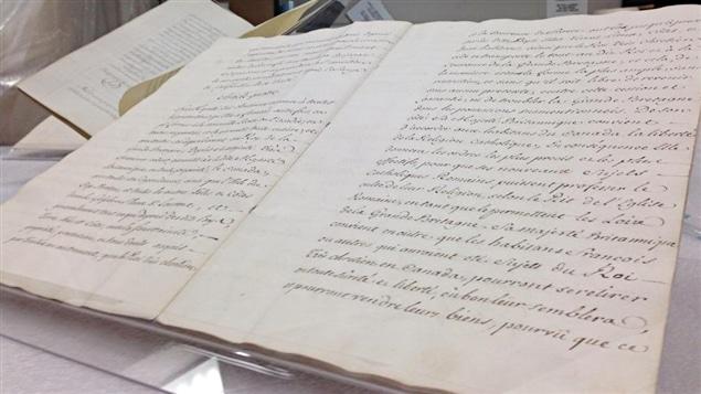 Le traité de Paris de 1763 est de passage au Québec.