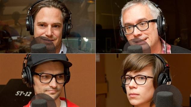 De haut en bas et de gauche à droite : le directeur du centre d'art contemporain L'Arsenal, Jean François Bélisle, le critique d'art Nicolas Mavrikakis, et les artistes Guillaume Boudrias-Plouffe et Karine Payette.