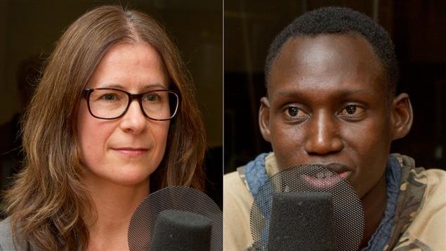 Véronique Harvey, membre du conseil d'administration du RIVO, et le coureur Abdoul Aziz Kimba Djado