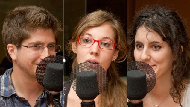 Les finalistes du concours « Ma thèse en 180 secondes » : Renaud Manuguerra-Gagné, Noémie Mermet et Marie-Charlotte Morin