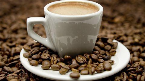 Une tasse de café au milieu de grains de café