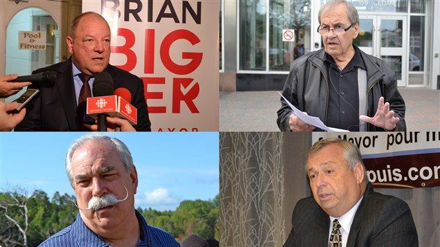 Les quatre principaux candidats à la mairie du Grand Sudbury : Brian Bigger, John Rodriguez, Dan Melanson et Ron Dupuis.