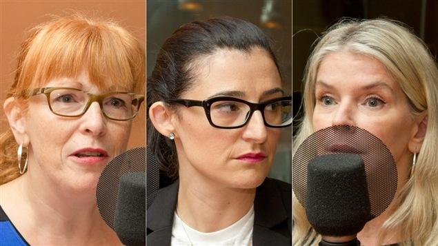 Louise Dugas, rédactrice en chef d'<i>Elle Québec</i> de 2009 à 2014, Mélanie Frappa, rédactrice en chef depuis août 2014, et Sylvie Poirier, rédatrice en chef de 2003 à 2009.