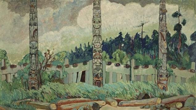 Détail du tableau d'Emily Carr « Tanoo, Queen Charlotte Island » (1913).