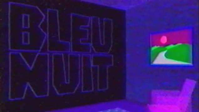 Le générique d'ouverture de l'émission <i>Bleu nuit</i>, diffusée à l'antenne de Télévision Quatre-Saisons de 1986 à 2005