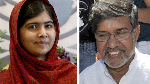 Le deux récipiendaires du prix Nobel de la paix 2014, la Pakistanaise Malala Yousafzai et l'Indien Kailash Satyarthi