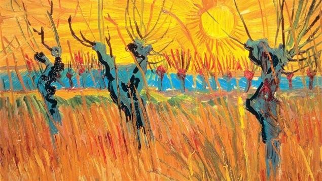 Portion de <i>Saules au coucher du soleil</i>, de Vincent Van Gogh (1888)