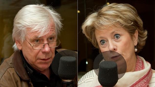 Le journaliste Dennis Trudeau et présidente du Secrétariat international des infirmières et infirmiers de l'espace francophone, Gyslaine Desrosiers