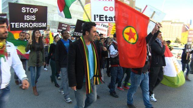 Manifestation de soutien aux Kurdes à Montréal