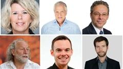 De gauche à droite, puis de haut en bas : Janet Jones (PLQ), François Paradis (CAQ), Adrien Pouliot (Parti conservateur du Québec), Yv Bonnier Viger(QS), Alexandre Bégin (PQ) et Alex Tyrrell (PVQ)