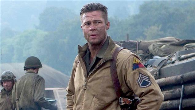 Brad Pitt dans une scène du film <i>Fury</i>, de David Ayer