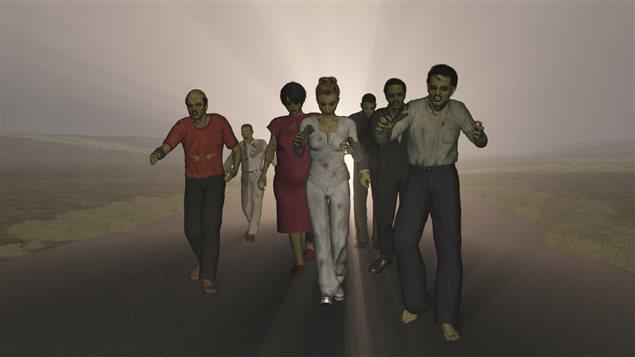 Des zombies marchent sur une route.