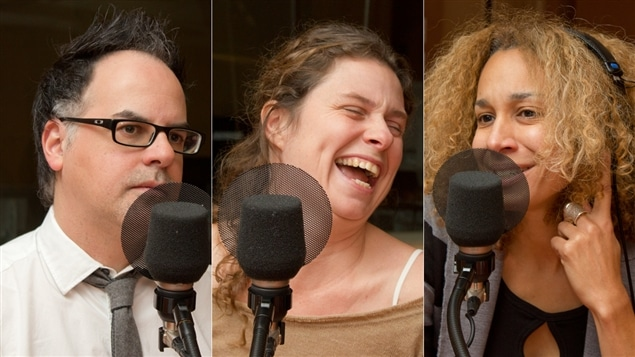 Les auteurs Stéphane Dompierre, Roxanne Bouchard et Isabelle Massé