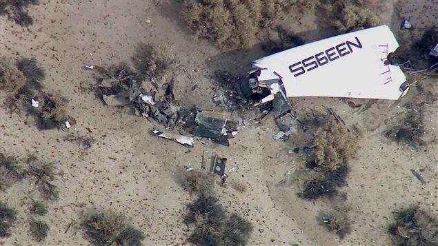Des débris de l'avion spatial SpaceShipTwo dans le désert californien