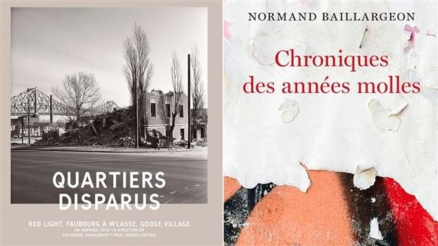 Les couvertures des livres <i>Quartiers disparus</i> et <i>Chroniques des années molles</i>