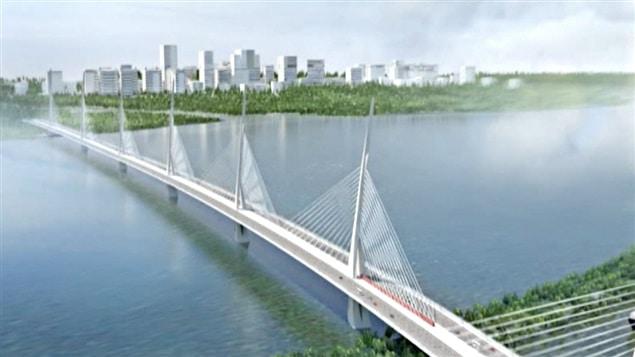 La proposition de l'architecte Roger Taillibert pour le futur pont Champlain