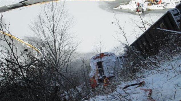 Le site du déraillement d'un train à Sept-Îles.