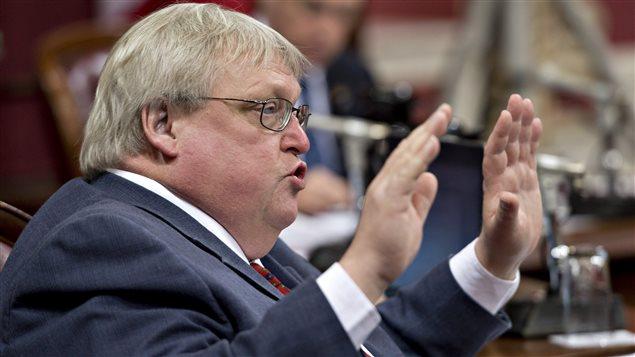 Le ministre de la Santé, Gaétan Barrette, lors de la dernière journée de consultations sur le projet de loi 10, en commission parlementaire.