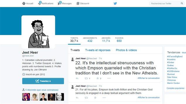 La page Twitter du journliste Jeet Heer