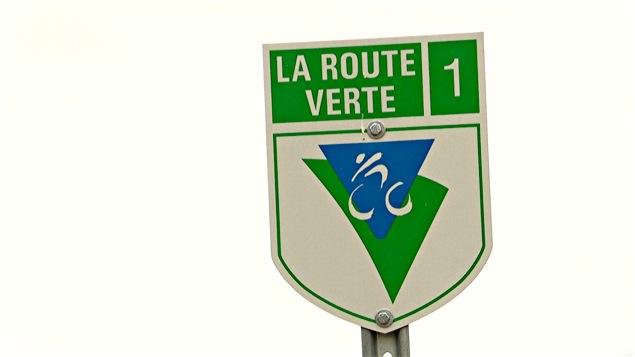 Un panneau signalant la Route Verte en Outaouais.