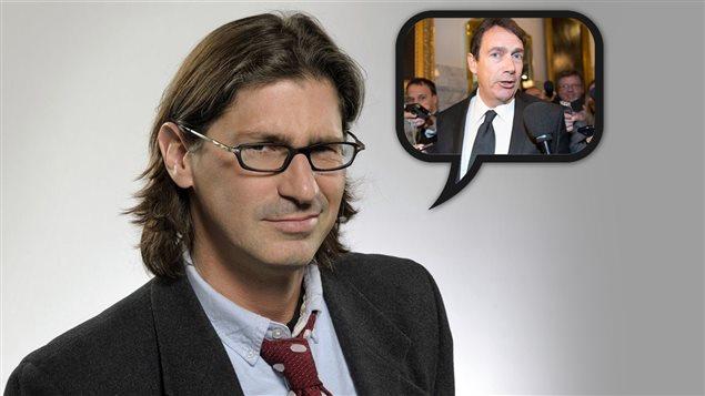Jean-René Dufort, Pierre Karl Péladeau répond aux questions des journalistes.