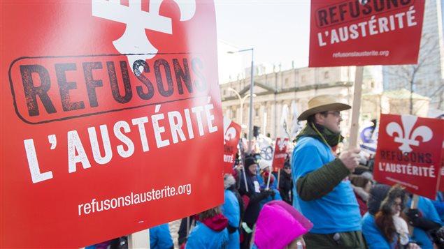 Manifestation contre l'austérité à Montréal, le 29 novembre