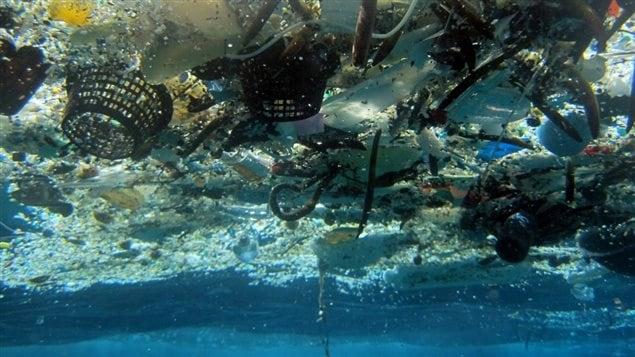 Déchets de plastique qui flottent dans l'océan.