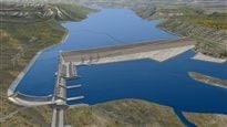 Image du projet de barrage hydroélectrique du site C à l'est de Fort St John.