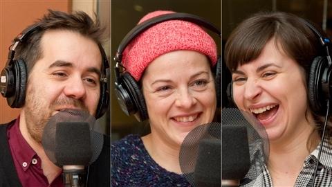 Le chroniqueur Jean-Sébastien Girard et les comédiennes Sophie Cadieux et Sonia Cordeau