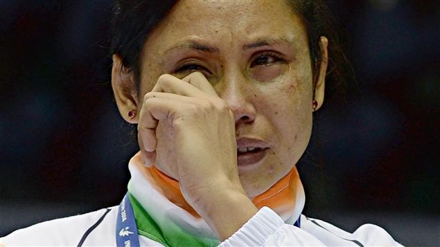Sarita Devi sur le podium des Jeux asiatiques