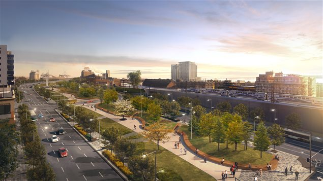 Le look du futur boulevard Robert-Bourassa, actuellement l'autoroute Bonaventure