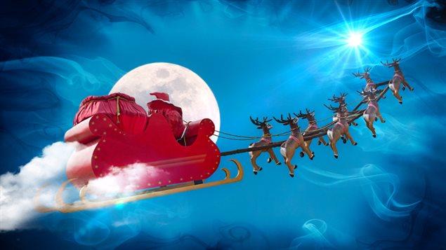 père Noël dans les airs et dans l'espace