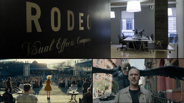 À l'entrée du studio de création d'effets spéciaux de Québec (en haut), et des scènes tirées de « Hunger Games » et « Birdman ».