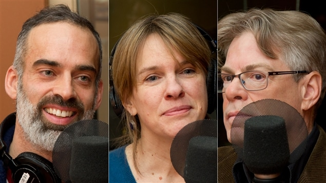 L'enseignant de méditation pleine conscience Pascal Auclair, la chroniqueuse Josée Blanchette et le psychiatre Hugues Cormier
