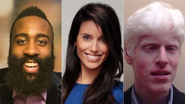 Trois personnalités figurant sur le palmarès <i>30 under 30</i> du magazine <i>Forbes</i> : le joueur de basketball James Harden, la rédactrice du site Mic.com Elizabeth Planks et l'entrepreneur et mathématicien Vikram Modi.