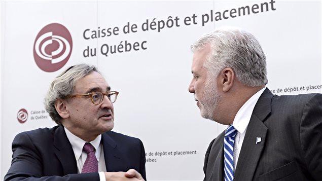 Michael Sabia, président et chef de la direction de la Caisse de dépôt et de placement du Québec et Philippe Couillard, premier ministre du Québec