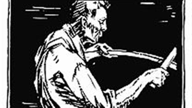 """الجزء الأعلى من لوحة """"رجل يحمل منجلاً"""" للرسام الكندي فراكلين كارمايكل، أحد مؤسسي """"مجموعة السبعة""""، نشرتها مجلة """"كناديان فوروم"""" عام 1921"""