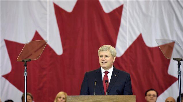 Le premier ministre Stephen Harper présente devant des Québécois son projet de loi sur la lutte au terrorisme le 30 janvier dernier.