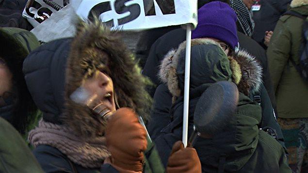 Des manifestants contre l'austérité réunis à Montréal