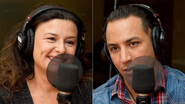 La comédienne, animatrice et copropriétaire des restaurants Accords, Chantal Fontaine, et le vainqueur de l'édition 2014 des <i>Chefs</i>, Hakim Chajar.