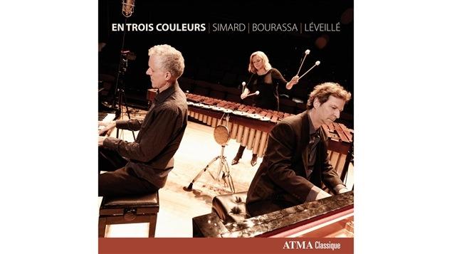 Pochette de l'album <i>En trois couleurs</i> de Marie-Josée Simard, François Bourassa et Yves Lévéillé, paru sous étiquette Atma