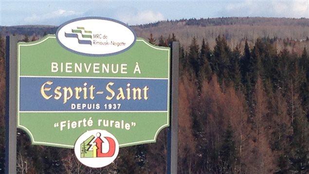 Entrée du village d'Esprit-Saint dans le Bas-Saint-Laurent