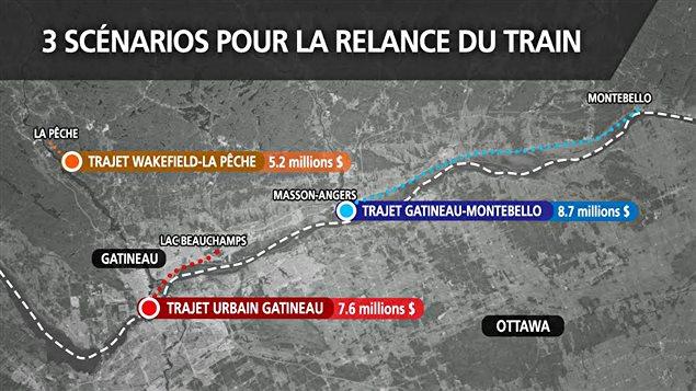 Une carte des trois projets de train à vapeur en Outaouais, ainsi que les coûts qui y sont associés.