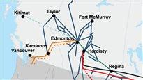 Une carte des pipelines au Canada