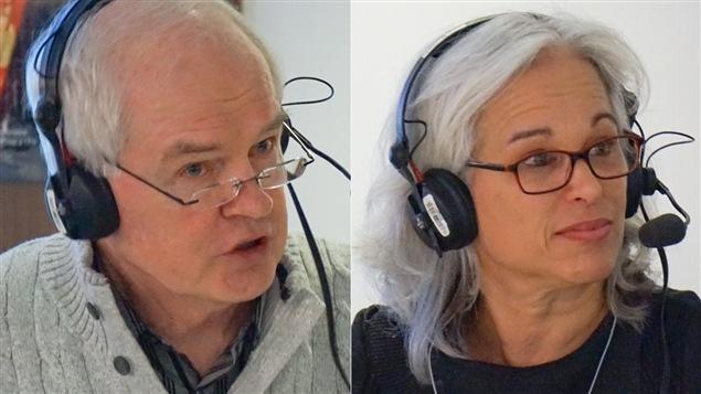 L'auteur, panéliste et ancien journaliste Daniel Lessard et la journaliste, écrivaine et conférencière Lucie Pagé