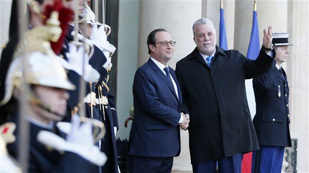 Le président français, François Hollande, et le premier ministre du Québec, Philippe Couillard