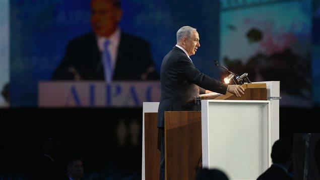 Le premier ministre israélien Benyamin Nétanyahou, lors de son discours devant les délégués de l'AIPAC, lundi matin.
